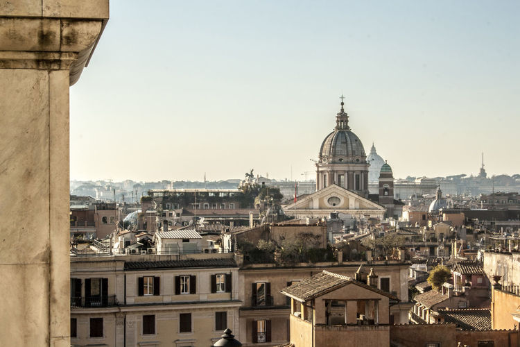 Rome Architecture Building Exterior Built Structure City Cityscape Clear Sky Day Dome High Angle View No People Outdoors Place Of Worship Religion Rome Italy Sky Spirituality St Peters Basilica Town Travel Destinations