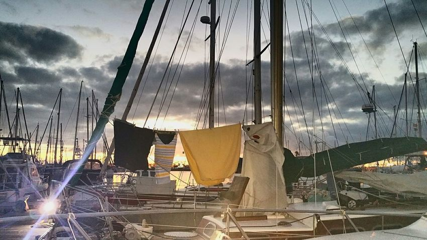 Boatlife Boat Dawn Daybreak Sun Reflection Silence Laundry Mast Sky_collection Sky_scapes Canary Islands