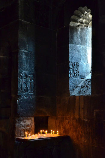 Armenia Armenian Church Geghard Geghard Monastery Altar Architecture Built Structure Candle Day Flame Illuminated Indoors  No People Oriental Orthodox Church Place Of Worship Religion Spirituality W-armenien