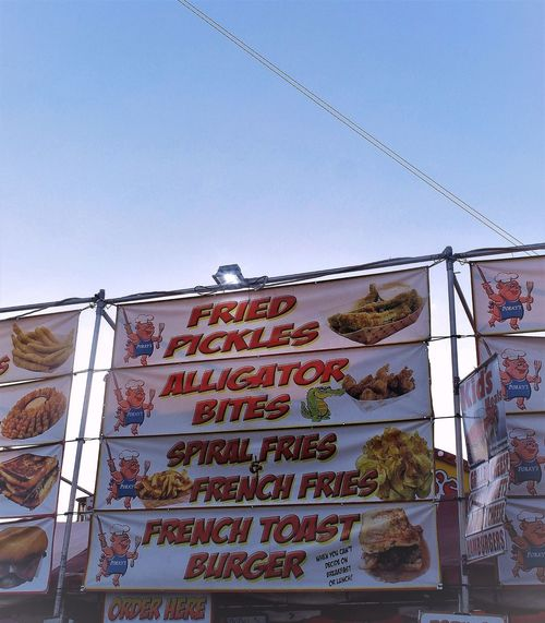 """i have to admit """"fair"""" food does smell pretty good !!! Clear Sky Food Friedfood Low Angle View Words"""