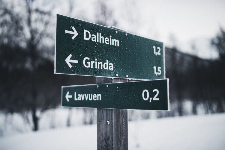 Close-up of road sign