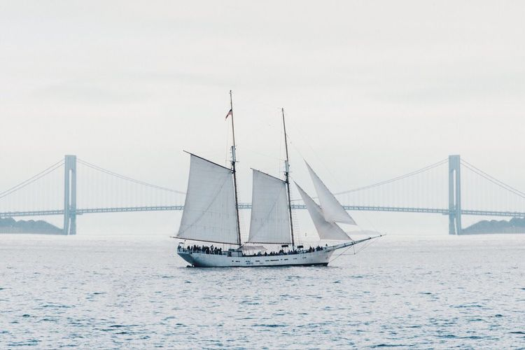 Transportation Suspension Bridge Bridge - Man Made Structure Nautical Vessel Sea Connection Mast No People Sailboat Water Sky Outdoors Sailing Day Tall Ship Architecture Nature Sailing Ship
