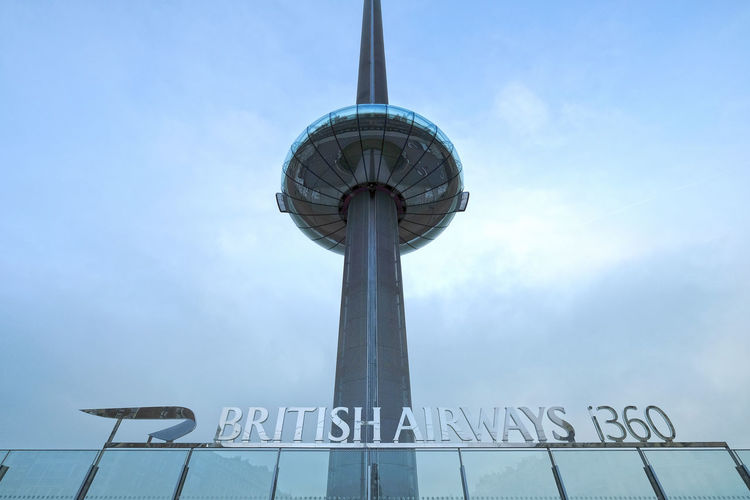 i360 Tower Attraction Ba Blue British Airways British Airways I360 Cloud - Sky Destination High I360 I360 Tower Looking Up Low Angle View No People Outdoors Promenade Resort Seaside Sky Technology Tourism Tower Travel Destinations View Viewing Tower West Pier