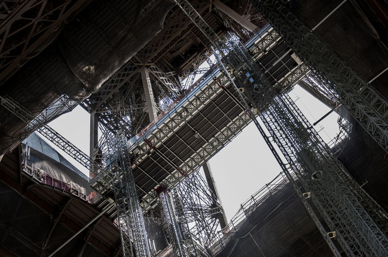 Low angle view of incomplete building at construction site