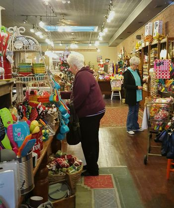 Christmas Shopping 2 Women Grandmas Stocking Stuffer Displays Specialty Shop Knick-knacks Toys Store Faces In Places