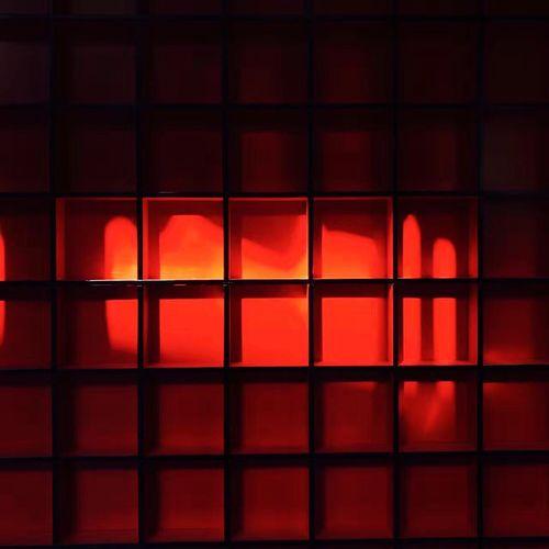 Illuminated red lights