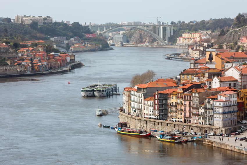 High angle view of Douro river and Porto. Douro  Porto Portugal Architecture Bridge Bridge - Man Made Structure Building Building Exterior Built Structure City Cityscape Day Harbor High Angle View Mode Of Transportation Nature Nautical Vessel No People Outdoors Passenger Craft Residential District River Transportation Water Waterfront