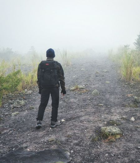 Path of mist Fog Rear View Full Length Adventure One Person Misty Mountains  Misty Mountains  Mount Misty Morning Outdoors Nature Beauty In Nature Hiking Mountain Track Bacpacker