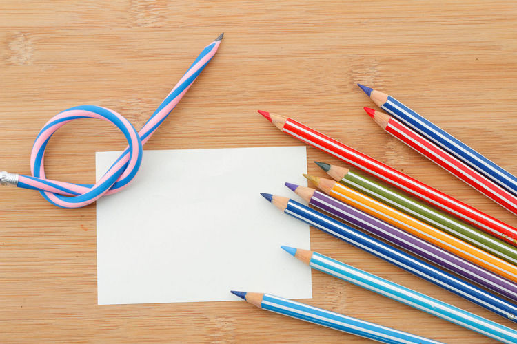 Concept of flexibility and differences in society Striped Flexible Flexibility Copy Space Copyspace Office Supply Multi Colored Desk Education Pencil Wood - Material Close-up Colored Pencil Art And Craft Equipment Variety
