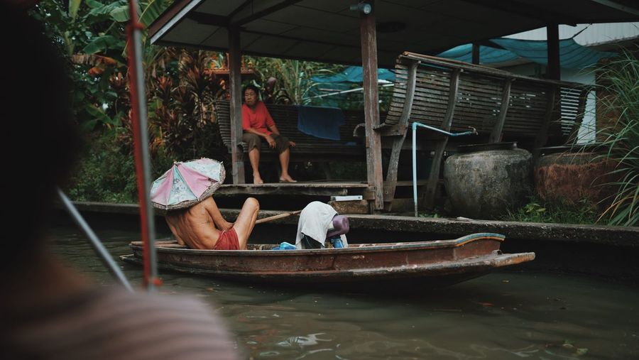 Bangkok Lifestyle Floating Market Khlong Lat Mayom Boat People Photography Slow Life Lifestyle Thailand Bangkok People Nature