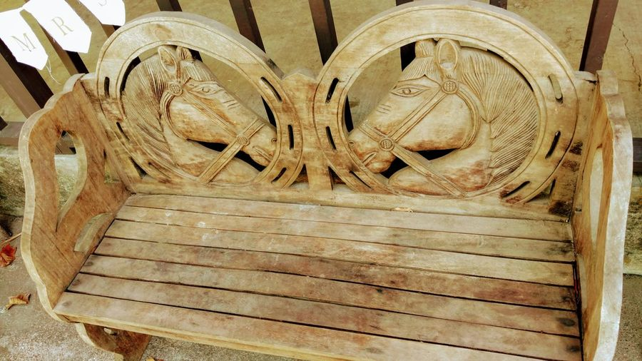 Western his & her's bench Horse Photography  Wood Art, Bench Seat Pattern, Texture, Shape And Form Relaxing Art And Craft Sculpture Close-up Carving Carving - Craft Product Wooden Male Likeness ArtWork