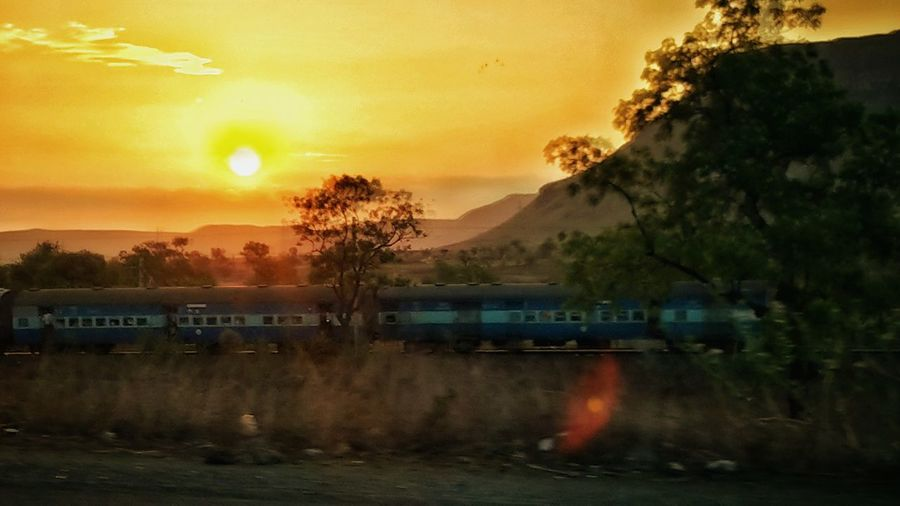 Railway Travelling from Train Beautiful Sunset