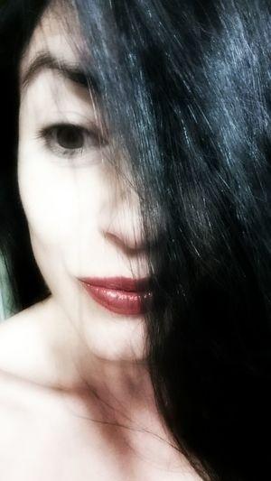 Selfportrait Self Portrait Selfie Portrait Selfies Selfietime Selfie Time Haircolor Black Hair BLACK HAIR ❤ Black Hair ❤❤ Expression Porcelain Skin Mouth Eye Eyes Face Hair Over Face Expressions Expressive Eyes Expressive Gesture Lips Rouge Lip Eyebrows Eyebrow Closed Lips
