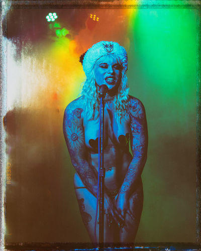 Toxic Suicide performing at Tatas For Toys, a charity event in Portland, OR. Woman Beautiful Woman SONY A7ii Pdxentertainer Stage Singer  Female Performer Portrait Beauty Mystery Close-up Digital Composite