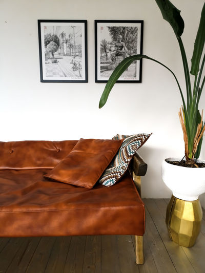 Fragment of the interior with pictures on the back. Homeideas Arttyshenko Drawing Sofa Strelitzia Camelcolor ArtWork Art Furnitures Modern Midcentury Modern Midcenturydesign Loft Pot Home Showcase Interior Living Room Home Interior Home Improvement