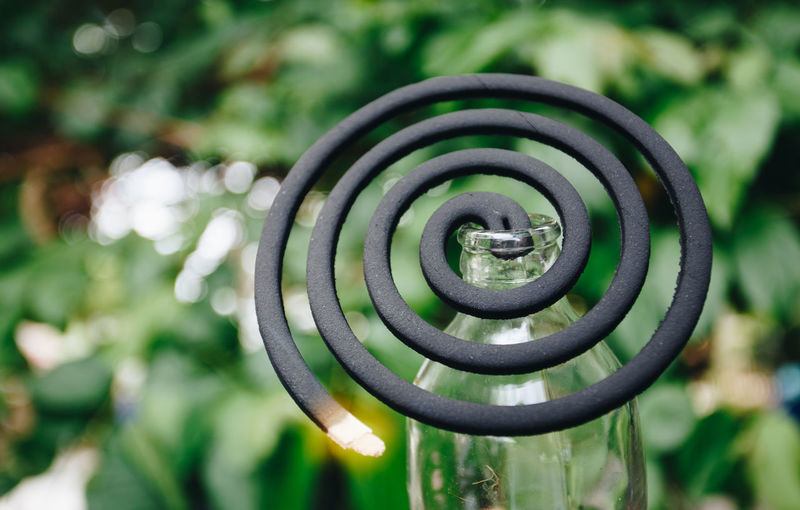 Close-up of burning mosquito coil outdoors