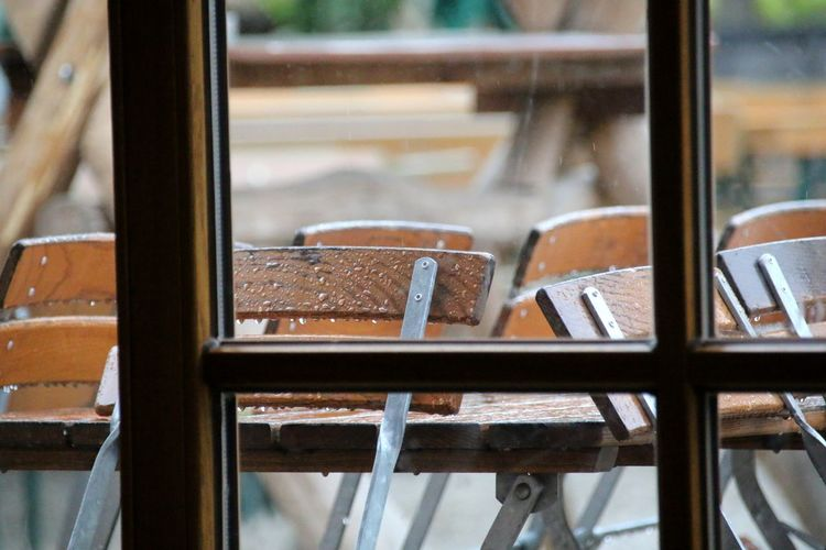 Rainy day😊😀 Chairs Wet Rainy Raindrops EyeEm Selects Window Close-up RainDrop Rain Chair