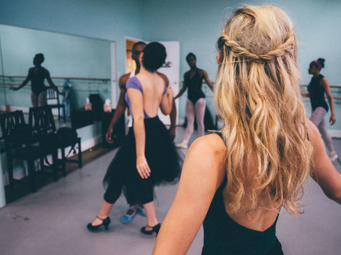 Ballet dancers at studio