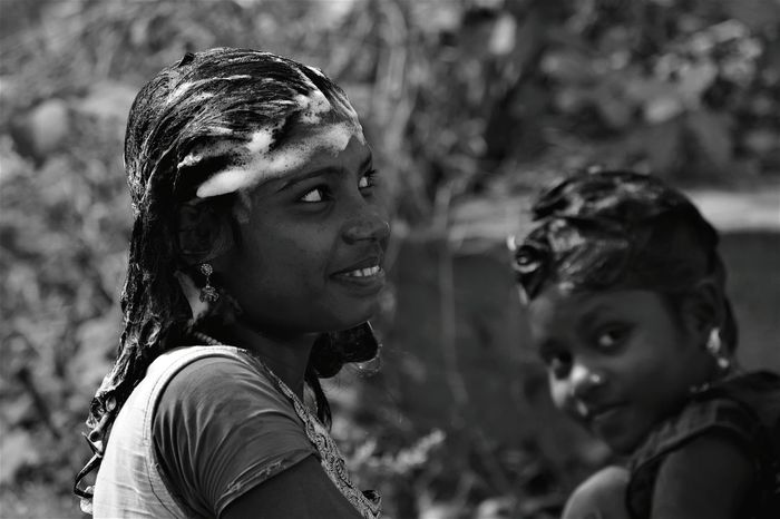 All is Well !! Beautiful People Portrait Outdoors Togetherness Close-up Beautiful Woman B & W Portrait Black And White Photography Black And White Portrait Monochrome Portrait Monochrome Beauty In Smile Real People Beauty Cheerful Smiling Child Happiness Lifestyles Rural Life Village Life In India Rural Girl Women Around The World