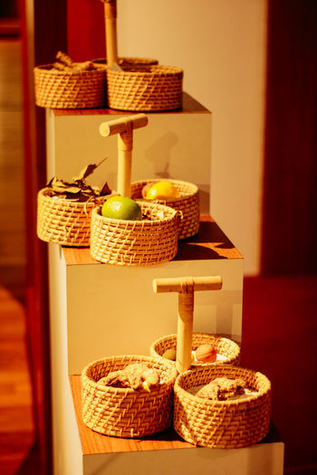 Fruits in basket on table at home