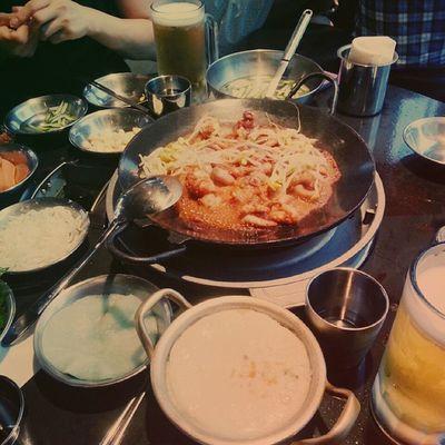 맛스타그램 먹스타그램 먹셔니스타 먹방 맛집 신천 화난쭈꾸미 foodstagram food_korea 몇달만에 마시는 맥주 ㅜㅠ