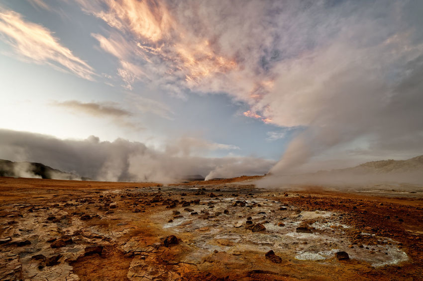 Geothermal Cloud - Sky Colorful Colourful Sky Geyser Hot Spring Hverarönd Iceland Iceland Travel Icelandtrip Landscape Nature No People Outdoors Power In Nature Scenics Sky Steam Tranquil Scene Tranquility Volcanic Landscape