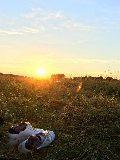 Two Is Better Than One Sunset Tranquility Relaxation Field Sky Nature Shoes