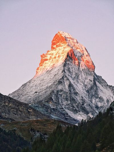 Matterhorn  Sky Beauty In Nature Mountain Nature No People Tranquility Low Angle View Scenics - Nature Tranquil Scene Plant Land Sunset Mountain Range Non-urban Scene Idyllic Outdoors Day Geology Mountain Peak Clear Sky