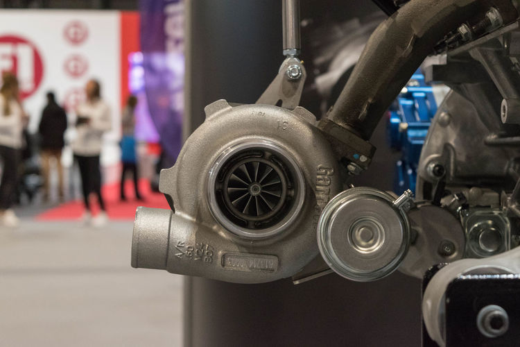 Car Close-up Engine Focus On Foreground Indoors  Technology Transportation Turbocharger