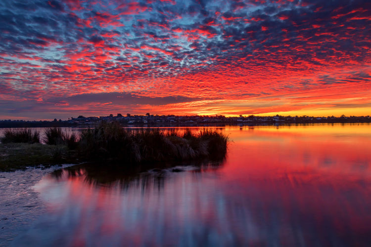 Beautiful Sky at Sunset at Shelley Beauty In Nature Cloud - Sky Dramatic Sky Dusk Idyllic Lake Nature No People Non-urban Scene Orange Color Outdoors Reflection Romantic Sky Scenics - Nature Sky Sunset Tranquil Scene Tranquility Water Waterfront