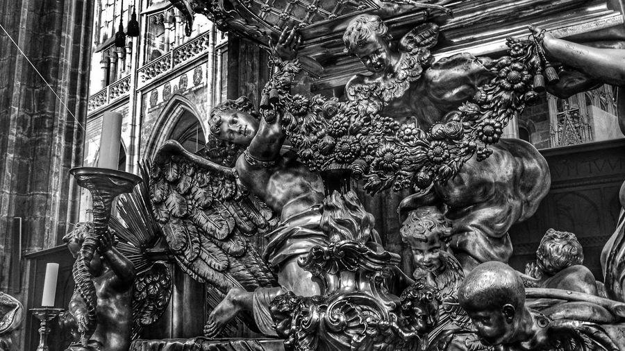 Arr in St. Veits Cathedral in Prague, Czech Republic Angels Art ArtWork Baroque Sacral Blackandwhite Black And White Black & White Black&white Blackandwhite Photography Blackandwhitephotography Black And White Photography Black Gothic