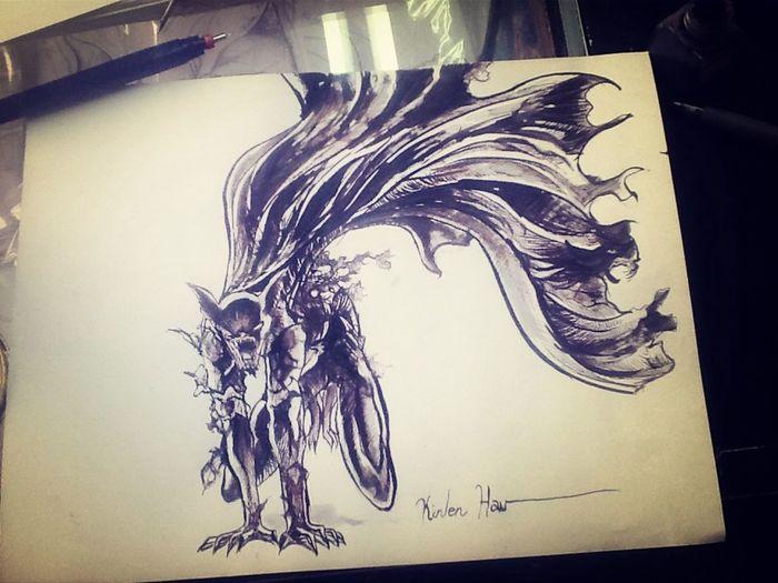 Batman ... Mi versión ... Técnica : tinta China ... Sobre cartulina opalina ... Art Drawing My Drawing Sketch