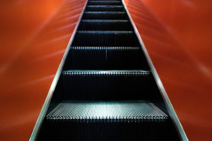 Brooklyn Brooklyn Public Library Lines Moving Stairway Stairs Architecture Built Structure Close-up Day Escalator Illuminated Indoors  Low Angle View Modern Moving Up No People No People, Orange Color Streetphotography Technology Way Up