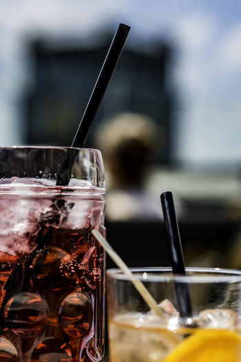 Close up of cold drinks