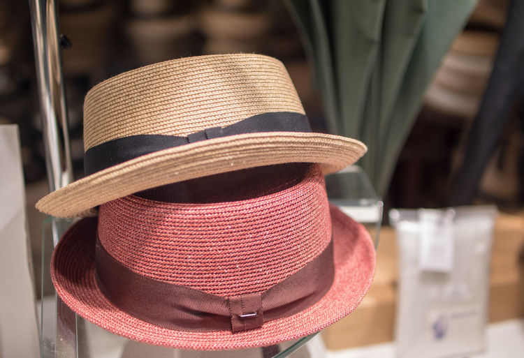 Close-up of hats in store