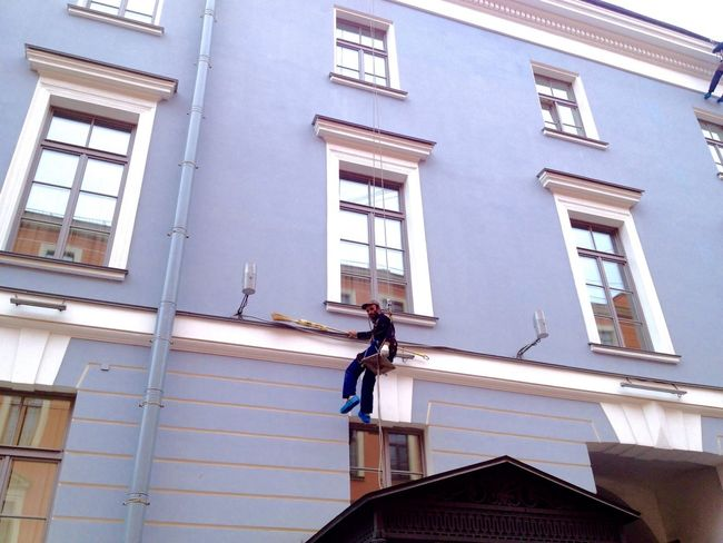 Architecture Building Exterior Built Structure Low Angle View Window Day One Person Real People Full Length Outdoors Working City Window Washer Sky People