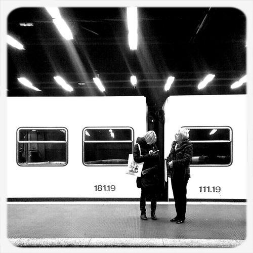 Blackandwhite Train Station Barcelona Public Transportation