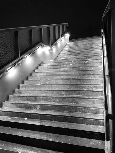 Night Snow Lights Blackandwhite Illuminated Steps And Staircases Steps Staircase Railing Architecture Built Structure Hand Rail