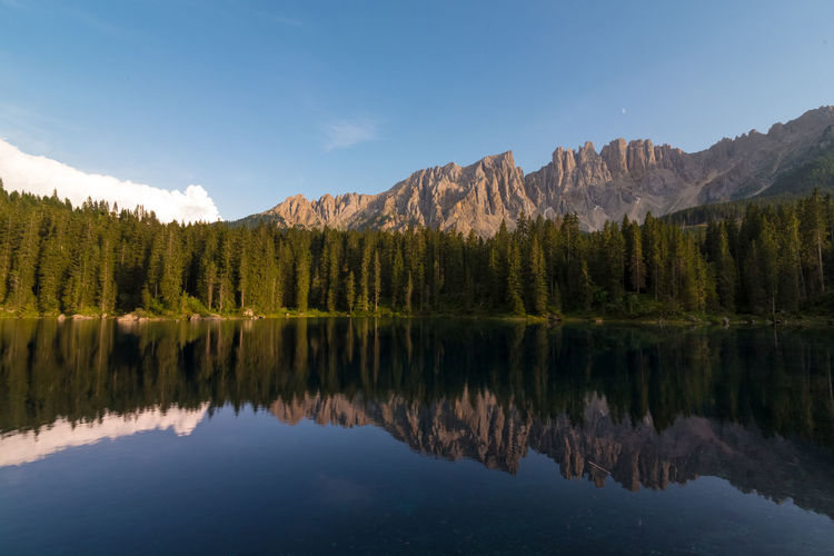 Lago di carezza morning view with dolomites reflections