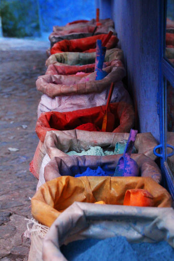 Blue Buckets Chefchaouen Color Colorful Painting Powder Powder Paint
