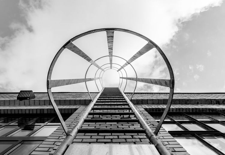Arch Architecture Berlin Photography Berliner Ansichten Black & White Business Finance And Industry Cloud - Sky Directly Below EyeEm Best Edits EyeEm Gallery EyeEmBestPics Fire Escape Fire Escape Stairs Fireescape No People Railing Sky Urban Exploration