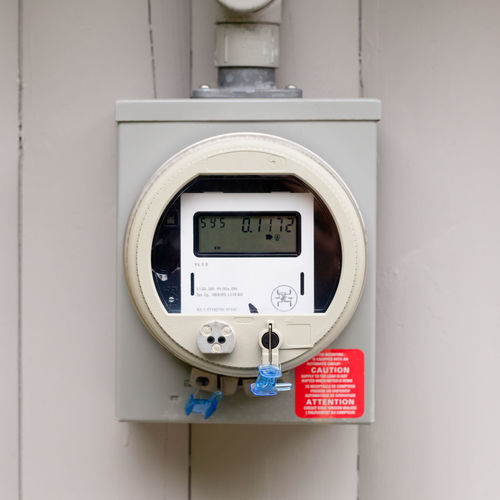 Modern smart grid residential digital power supply meter mounted outside on house wall Power Meter Electricity  Electric Meter Smart Grid Grit Modern Technology Digital Residential  Power Supply Mounted Outside Close-up House Wall KWh Kilowatthour Utility Monitor Energy Instrument Of Measurement Gauge No People Electricity  Equipment Meter - Instrument Of Measurement Control Electrical Equipment Connection