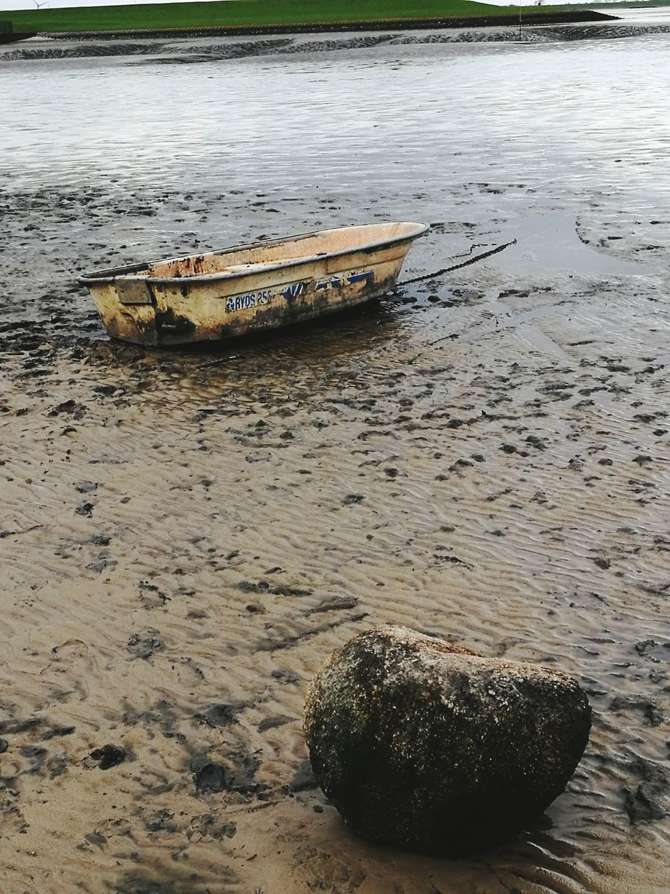 sand, beach, water, nautical vessel, abandoned, no people, day, outdoors, moored, nature