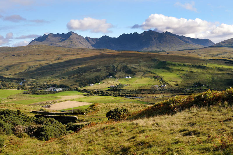 The Black Cuillins, Isle of Skye Cuillins Hills Scotland Skye Beauty In Nature Cloud - Sky Day Environment Field Grass Green Color Highlands Of Scotland Idyllic Land Landscape Mountain Mountains Nature No People Non-urban Scene Outdoors Rolling Landscape Scenics - Nature Sky Tranquility