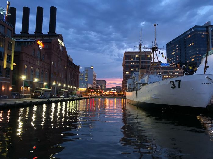 Baltimore Inner Harbor Baltimore Harbor Baltimore Water Illuminated Reflection Building Exterior Architecture Sky Cloud - Sky