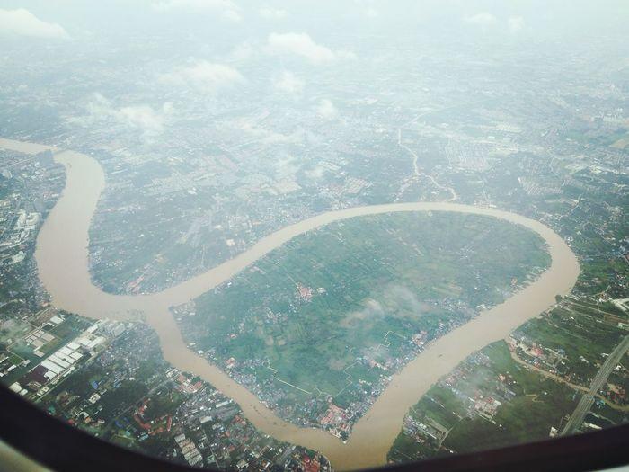 เกาะเกร็ด City Water Airplane Sea Aerial View Backgrounds Window Flying Pattern Looking Through Window
