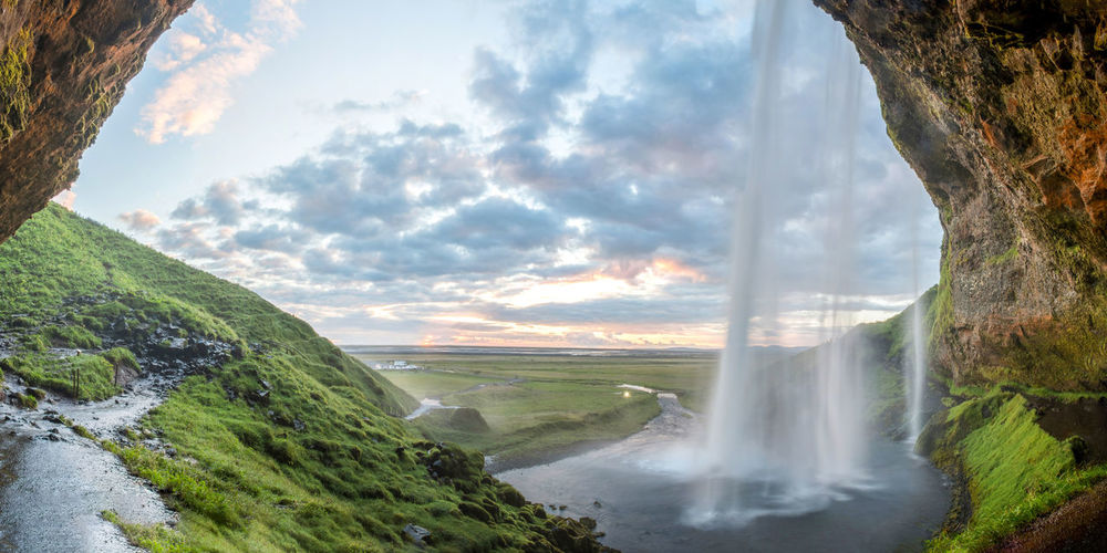 My second picture of the amazing Seljalandsfoss in Iceland. This was taken about 30min before sunnset from behind the waterfall. Beauty In Nature Canon Clouds And Sky Evening Iceland Landscape Landscape_Collection Long Exposure Nature No People River Seljalandsfoss Sigma Sunset Travel Vacations Water Water Reflections Waterfall