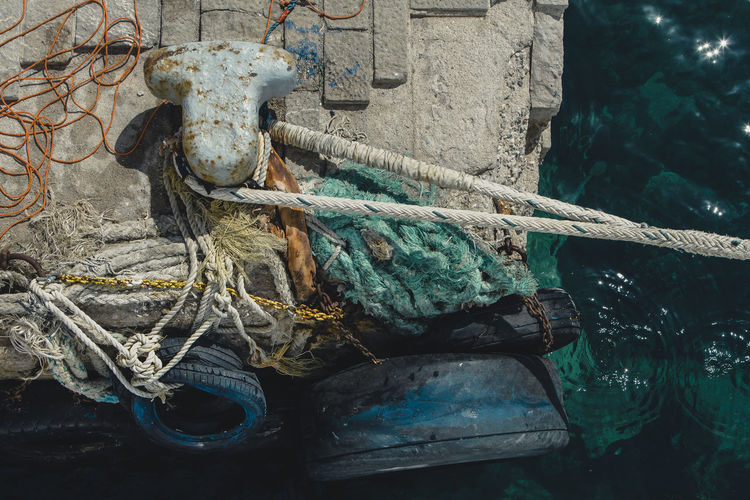 Abandoned Animal Animal Representation Architecture Art And Craft Close-up Craft Creativity Day Metal Mode Of Transportation Nature Nautical Vessel No People Old Outdoors Representation Rope Water