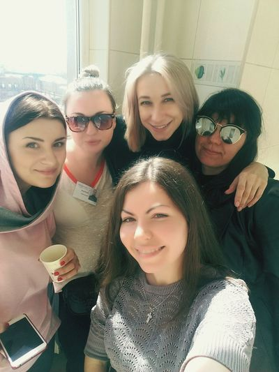 Friendship Young Women Togetherness Warm Clothing Technology Smiling Portrait Men Women Wireless Technology
