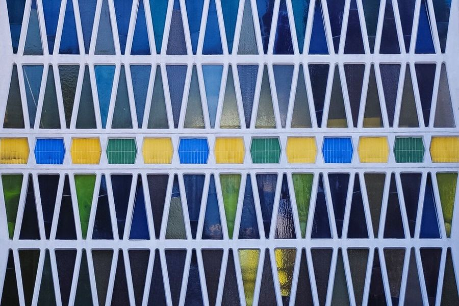 Geometry and colors... Multi Colored Pattern Full Frame Textured  Backgrounds Close-up Geometric Shape Repetition Blue No People LINE Colorful Architectural Feature Extreme Close Up Eyeem Market Colors and patterns Exceptional Photographs Urban Geometry Beautifully Organized EyeEm Diversity